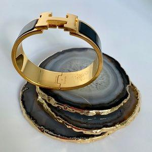 Hermes Jewelry - Hermes Black & Gold Wide Bracelet